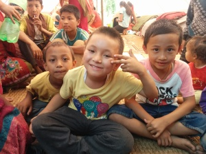 Kids at the relief camp